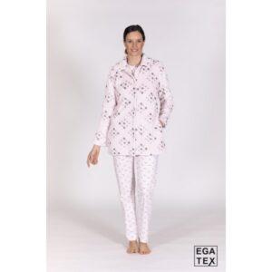 Conjunto chaqueta y pijama coral con topos